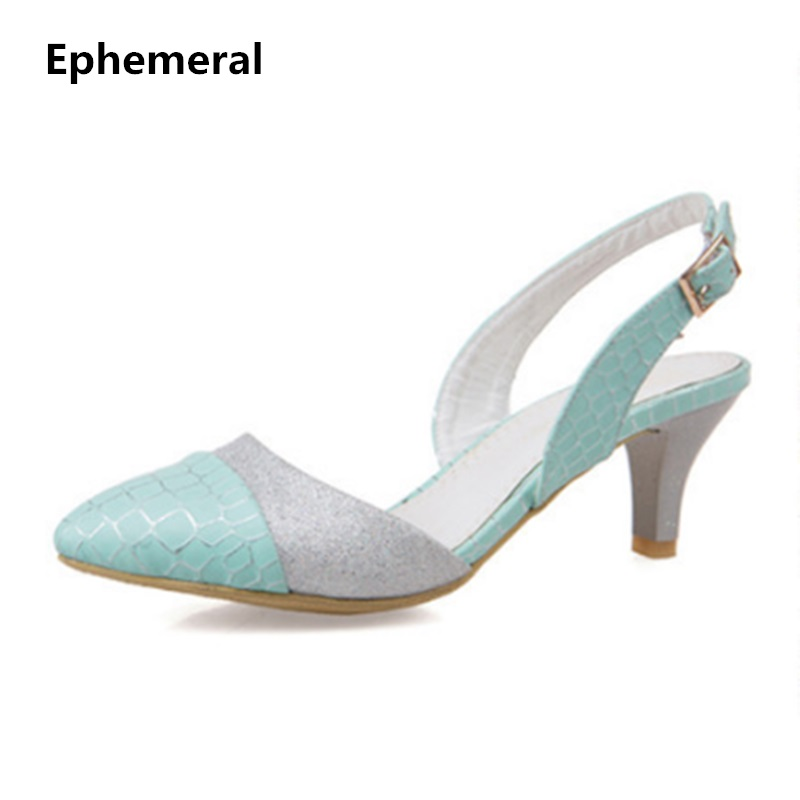 Ladies 1.7 Sexy Pointed toe Back strap Western Mixed color high heel sandals shoes women big size shoes(4 -14) pink blue white ladies 1 7 sexy pointed toe back strap western mixed color high heel sandals shoes women big size shoes 4 14 pink blue white