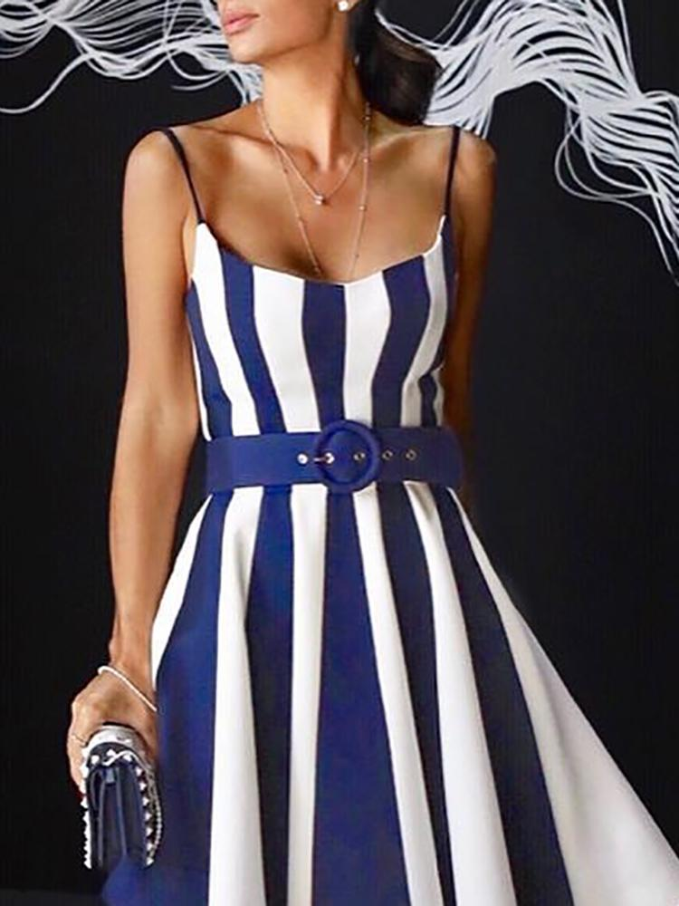New Fashion Stylish Formal Summer Dress Ladies Elegant Asymetrical Maxi Dress Contrast Striped Belted Irregular Party Dress
