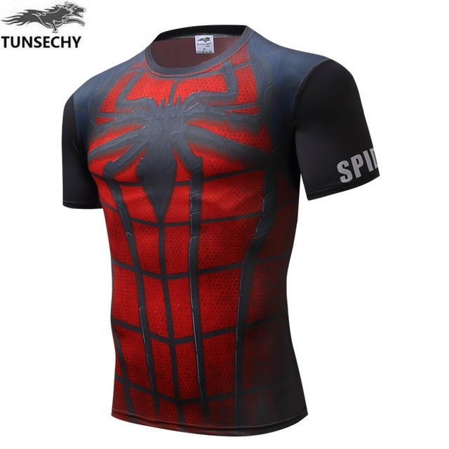 c8783ce0 2017 super hero spider man tight clothes men's T shirt fitness round collar  cultivate one's morality short sleeve T shirt-in T-Shirts from Men's  Clothing on ...