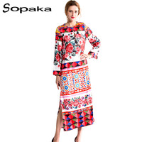 SOPAKA Sicilian Style Runway Floral Women Dress Full Sleeve Geometric Printed Loose Bohemian Dress 2017 Summer