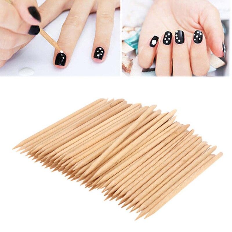 Sale 50PCS/100PCS Double End sticks Cuticle Pusher Wood Stick Nail Art Women Remover Pedicure Manicure Tool
