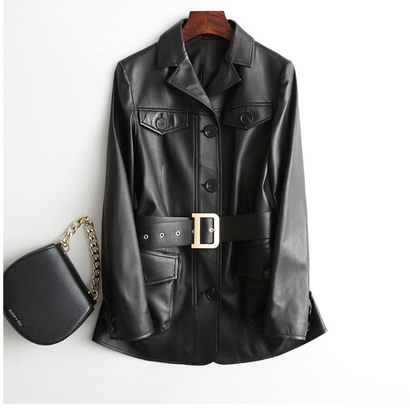 Office style lady black genuine leather coat jacket middle Long real sheepskin leather outwear slim belt women autumn outwear