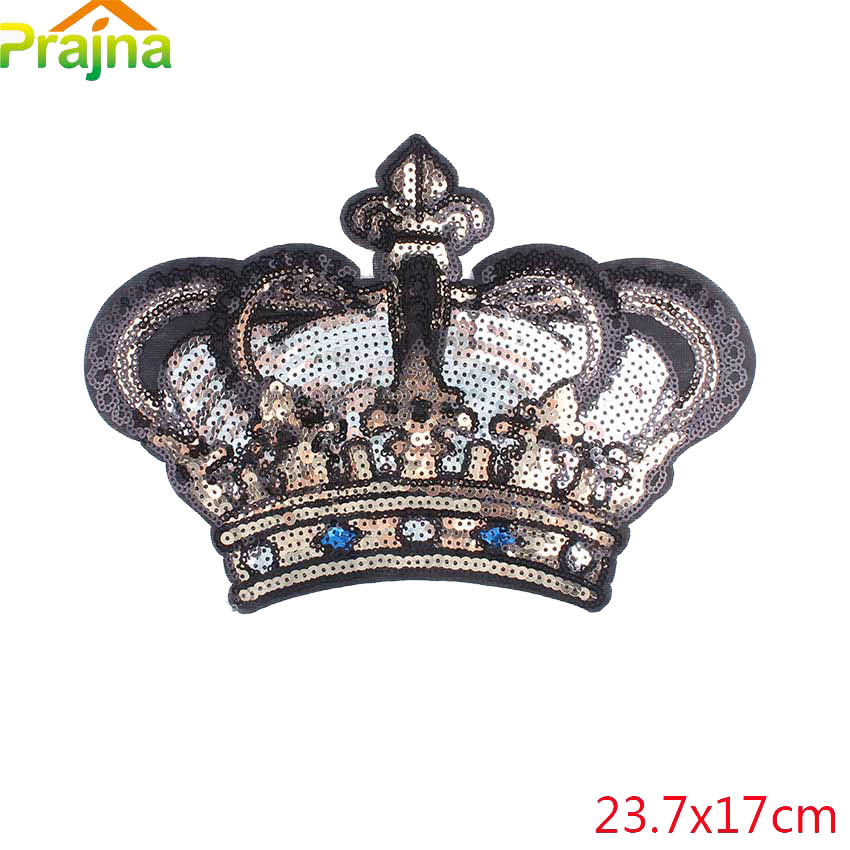 Large Crown Patch Badge Cartoon Sequin Iron On Sewing On For Clothes Sticker ES
