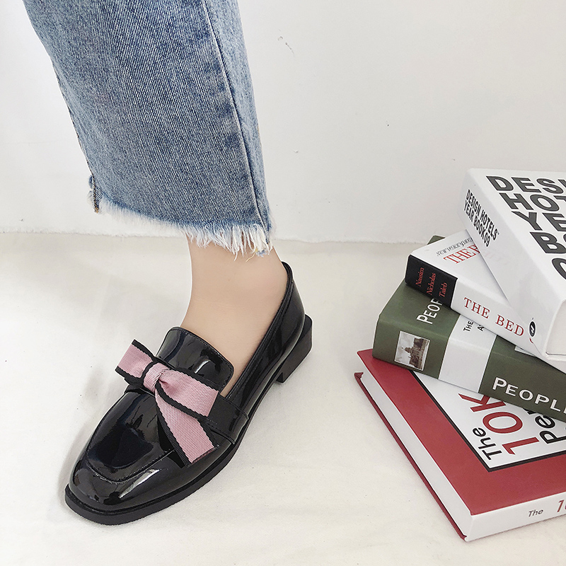 sweet pink bow knot leather shoes student girls low heel loafers woman brand oxford shoes autumn square toe espadrilles shoes 6