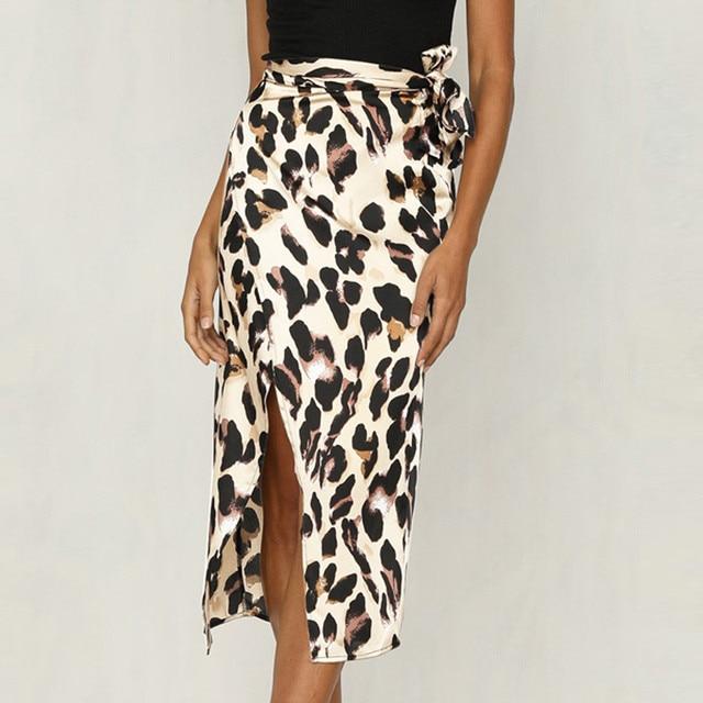 Fashion Women Sexy England Leopard Printed Split Bandage Evening Party Skirt 2