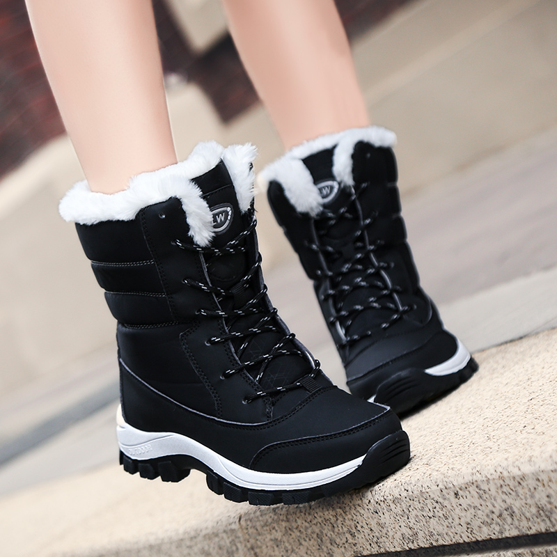 Image 2 - Waterproof Snow Boots Womens Shoes With Fur Winter Warm Flats Ankle Botas Anti slip Female Sneakers Zapatos Mujer Big Size 42-in Ankle Boots from Shoes