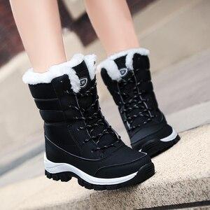 Image 2 - 防水雪の靴冬暖かいフラット足首bota ş 抗女性のスニーカーzapatos mujerビッグサイズ42
