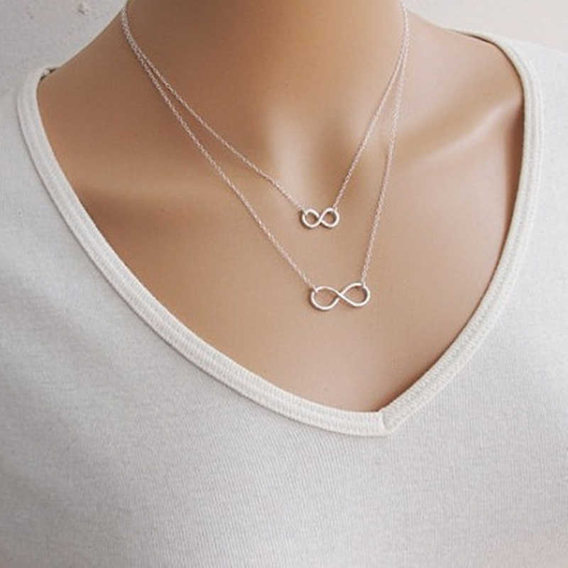 2018 New Fashion Multi Layer Necklace Gold Silver Plated Chain Biscuit Double Infinity Necklaces & Pendants Necklaces   8ND339