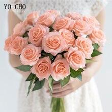 Yo cho flores artificiais com toque real, rosa, flores brancas, peônias, buquê de casamento, festa em casa, decoração de flores falsas