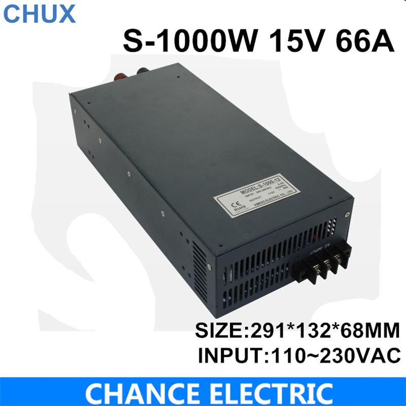 switching power supply 15V  66A 1000W 110~220VAC  single output input  for cnc cctv led light(S-1000W-15V) 48v 20a switching power supply scn 1000w 110 220vac scn single output input for cnc cctv led light scn 1000w 48v