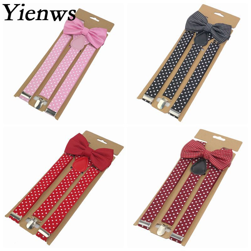 Yienws Bow Tie Suspenders For Women Dot Bowtie Braces 3 Clip Pants Suspenders Men Wedding Party Pink Black Bretels YiA100