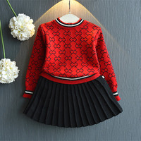 DFXD Korean Style Baby GirlsClothing Set 2018 Autumn New Long Sleeve Pullover Sweater+Black Pleated Skirt 2pc Girls Outfits 2 8Y