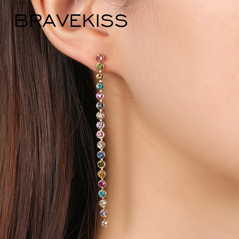 BRAVEKISS Colorful Long Crystal Drop Earrings For Women Trendy Earring 2019 New Fashion Jewelry Pendientes Gift For Girl BUE0330