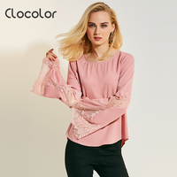 Clocolor Women Blouse Slim Long Sleeve O Neck Flare Sleeve 2017 Sweet Girl Style Lace Spring