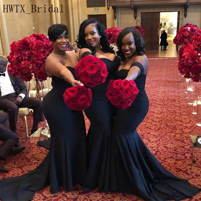 African Black Girls Mermaid   Bridesmaid     Dresses   Long 2018 Plus Size Off Shoulder Wedding Party Gowns Women Prom Formal Wear Cheap