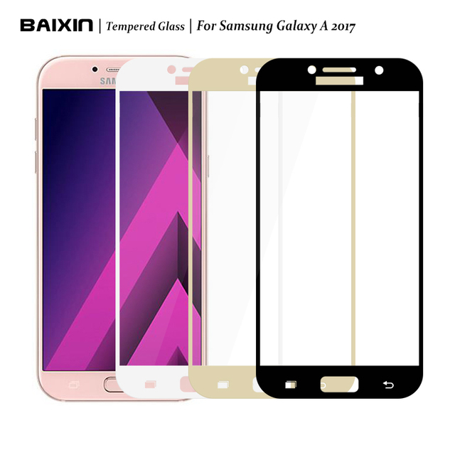 Baixin Full Cover Tempered Glass For Samsung Galaxy A3 A5 A7 2017 Version Screen Protector Front Film Case For A3 A5 A7 (2017)