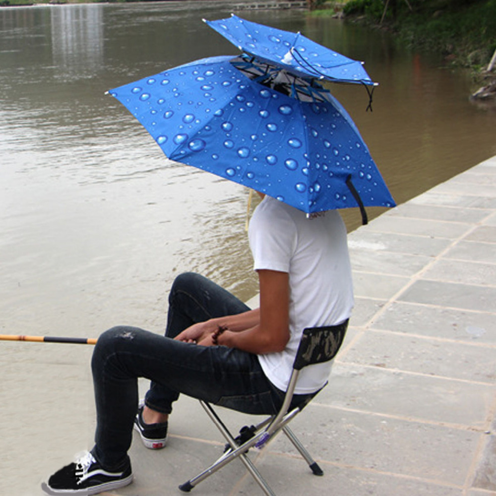 FZCSPEED Portable Headwear Handsfree Umbrella Hat Cap Folding Unisex Umbrella Hiking Golf Beach Sunshade Fish Hats Fishing Caps