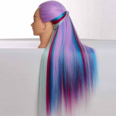 Dummy Hairdressing Doll Heads 65cm Long Hair Training Manikin Head Great High Temperature Fiber Colorful Hair Mannequin Head in Mannequins from Home Garden