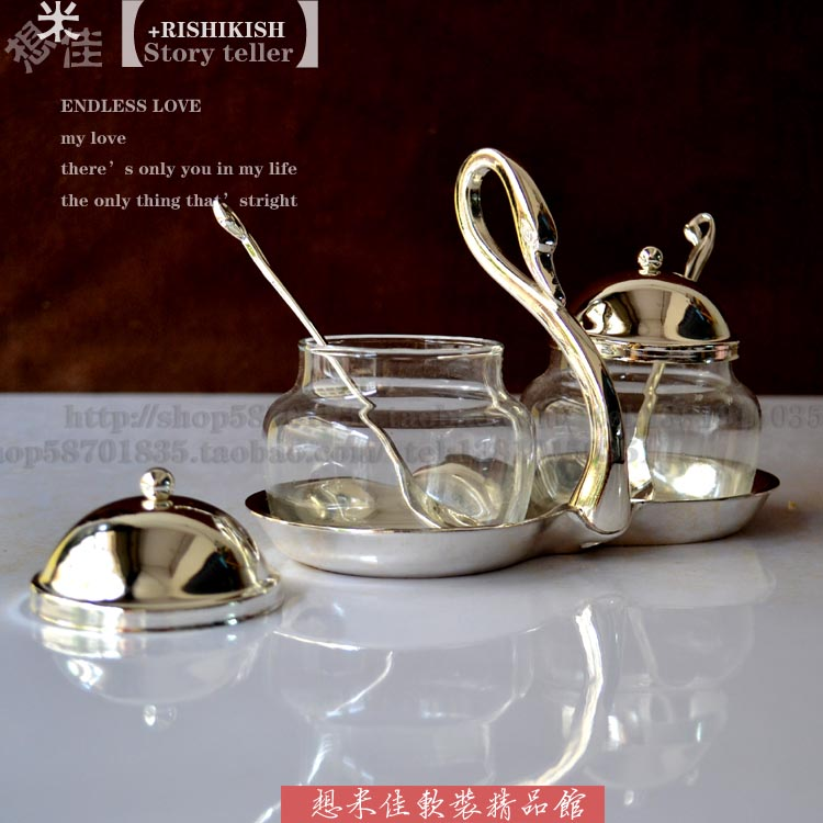 Fashion Silver Double Swan sauce pot seasoning bottle coffee cup with spoon sugar glass