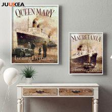 Titanic vintage filme cartaz mauretania entrando porto, lona arte impressão pintura decoração da casa parede imagem sala de estar sem moldura