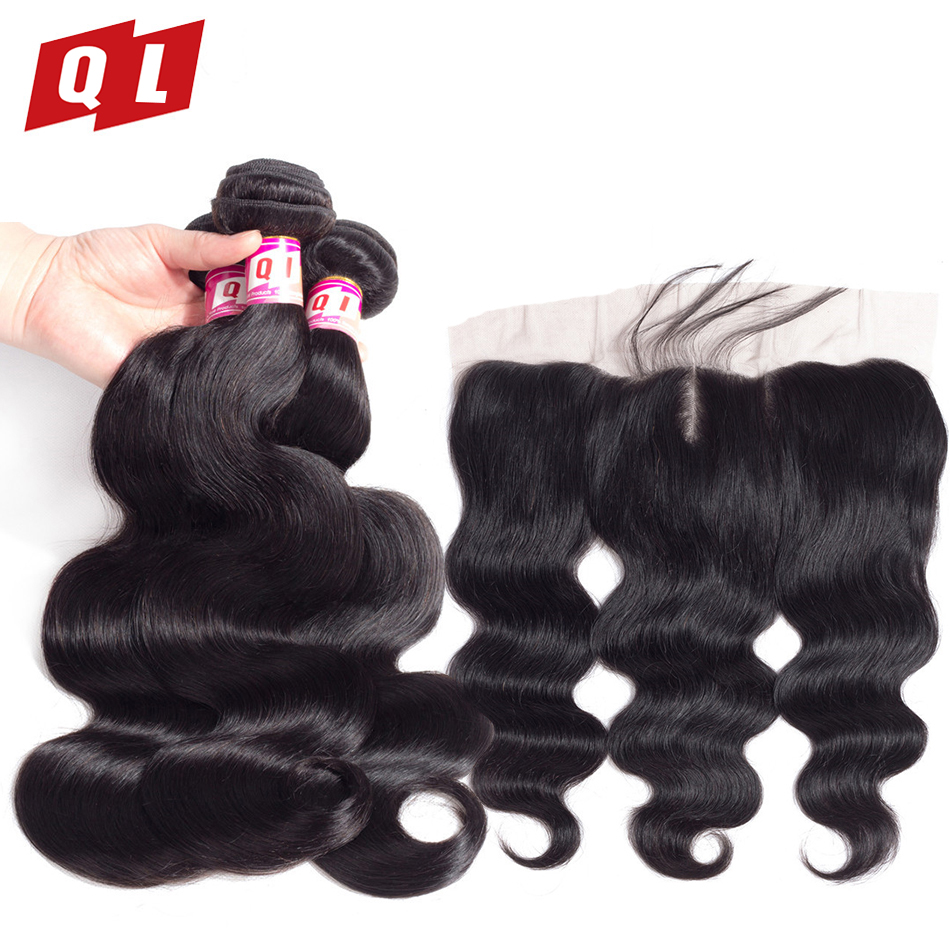 QLOVE HAIR Indian Body Wave 100 Human Hair 3 Bundles With 13 x 4 Lace Frontal