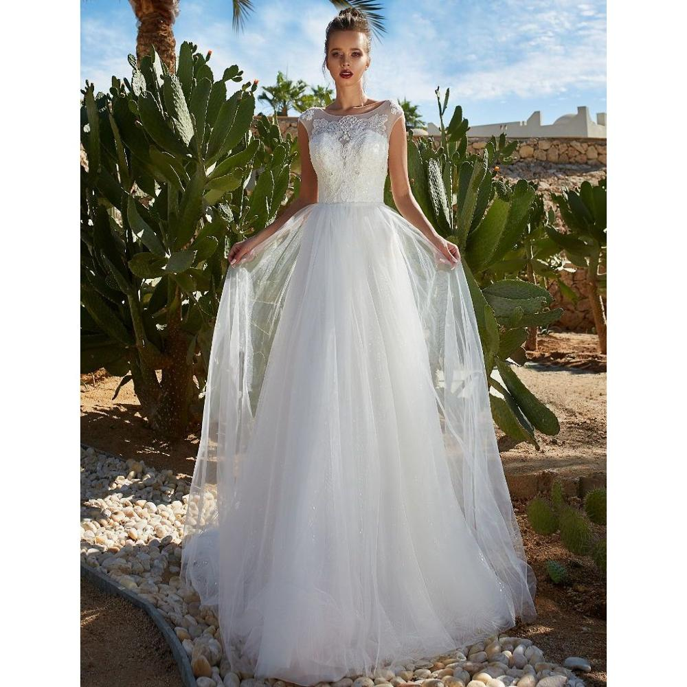 Luxury Beading Crystal Sexy Backless Wedding Dress Sheer Cap Sleeve Country Garden Princess Bridal Gown