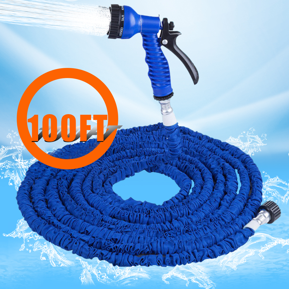 Awesome New Arrival Extensible Garden Water Hose Expandable 100FT Magic Flexible  Retractable Water Hose Watering With 7 In 1 Spray Gun