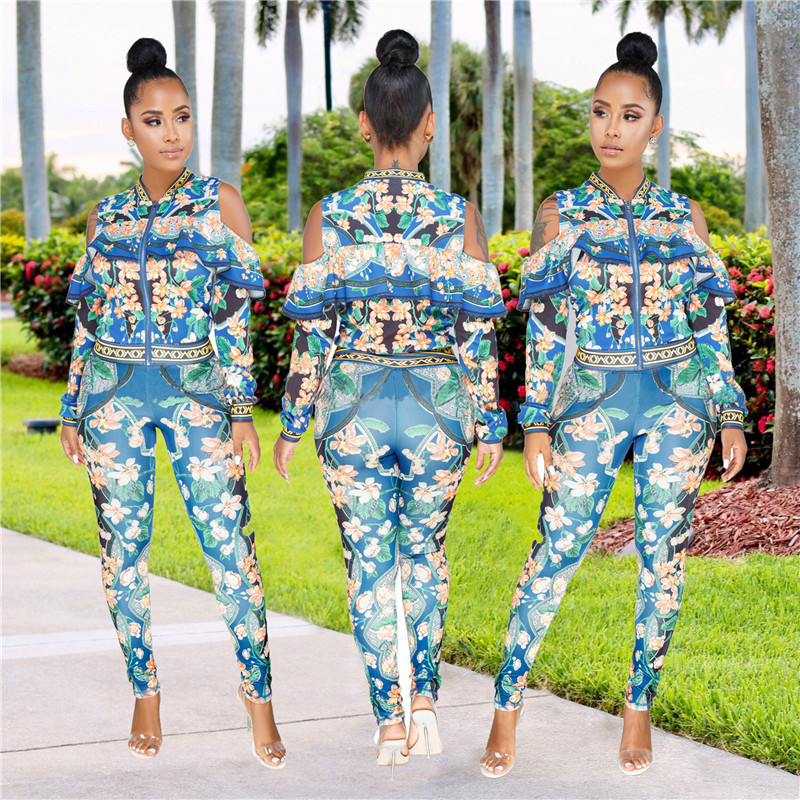 African Print Dresses For Women Dashiki Traditional African Two Piece Set Print Tracksuit Bazin Tops Pants Clothing Female Suit (14)