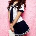 Uniforme Escolar japonés Chica de Clase Marinero Maid Cosplay Escolar Japones Traje Azul Marino Lazo Plisado Dolly Moda Falda Conjunto Completo