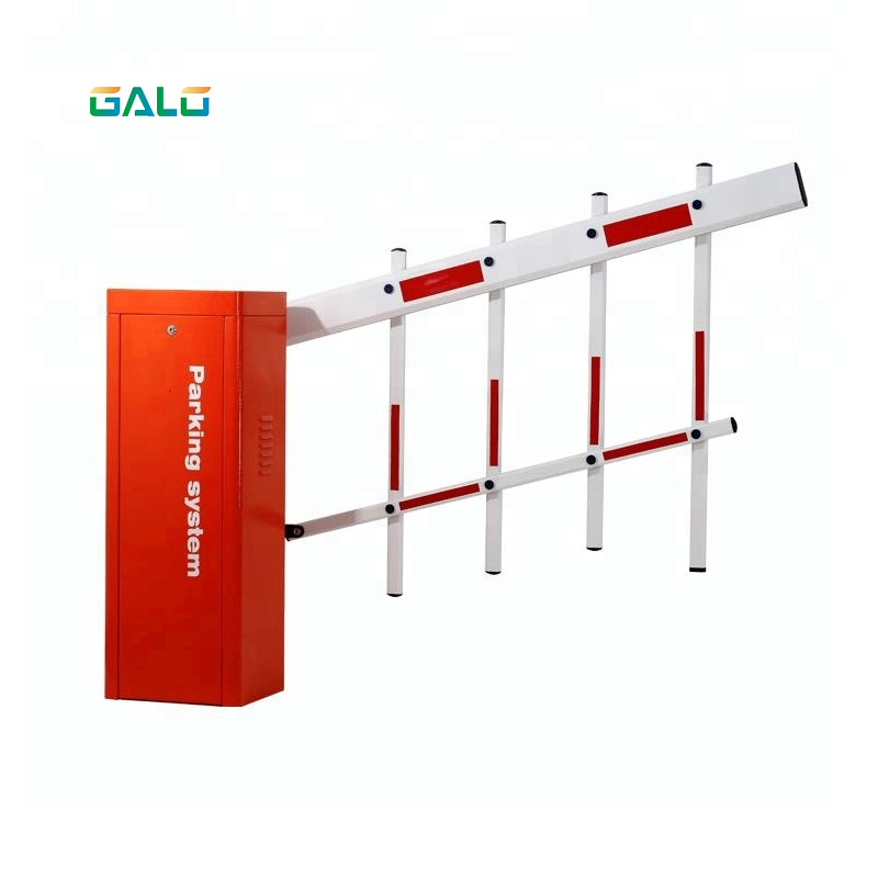 Auspicious Lucky Red Color Automatic Parking Lot Barrier Gate With Double Fence Boom