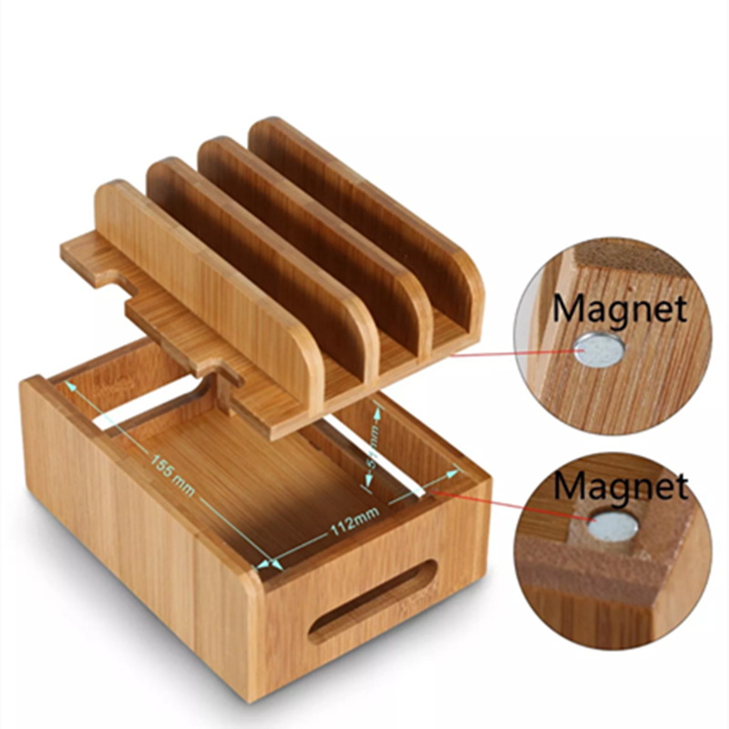 Image 2 - Bamboo Multi device Cords Charging Station Docks Holder Stand for iPhone 8 X 7 and Tablets for iphone for Samsung Galaxy Dock-in Phone Holders & Stands from Cellphones & Telecommunications