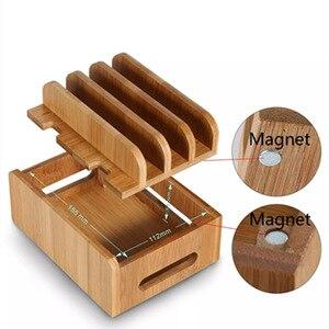 Image 2 - Bambu çok cihaz kabloları şarj istasyonu dock tutucu standı iPhone 8X7 6 ve tabletler İçin samsung Galaxy Dock