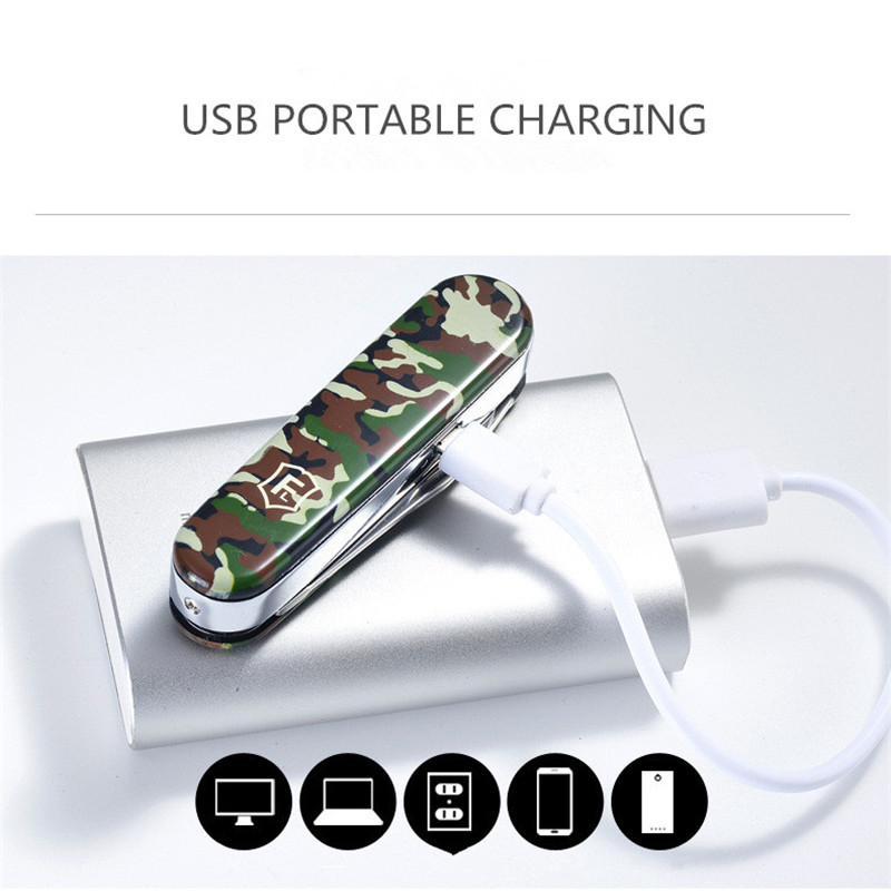 Image 5 - 5 In 1 Multifunction USB Lighter Saber Rechargeable Electronic Turbo Lighter Cigarette Swiss Army Knife Camping Tool Camouflage-in Cigarette Accessories from Home & Garden