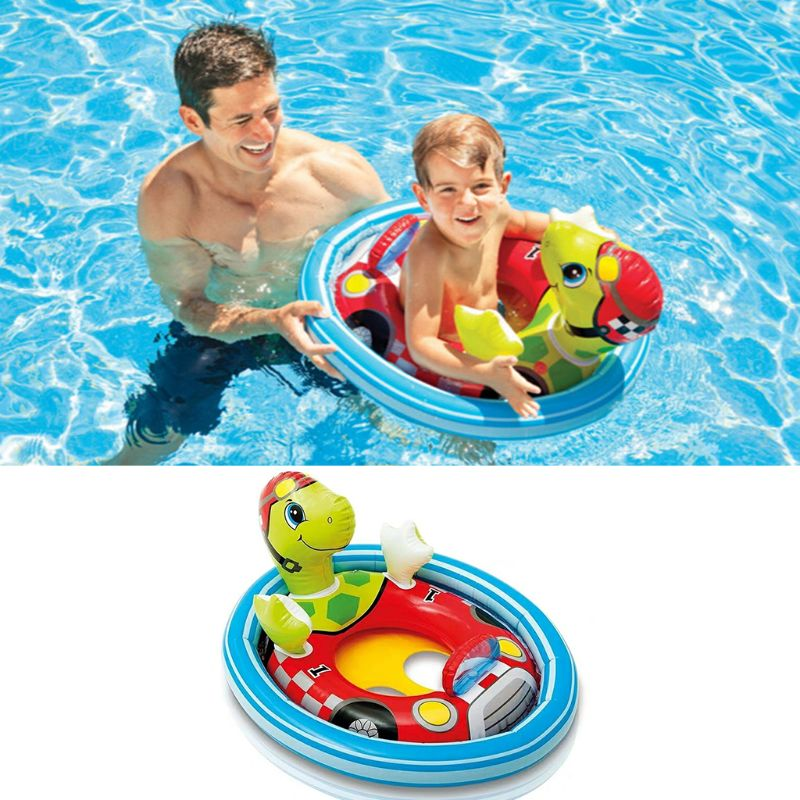 1PC Baby Swimming Floats Ring Cartoon Animal Double Airbag Safety Seat Baby Kids Pool Bathtub Outdoor Water Fun Entertain Toys