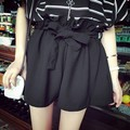 New 2015 Spring Summer Shorts Women High Waist Fashion Pleated Loose Solid Feminino Short For Women White Belt 50