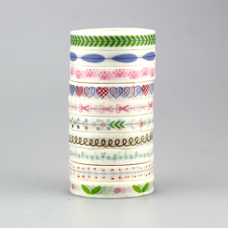 mix 10 Colors Washi Sticky Paper Masking Adhesive Printing Scrapbooking Deco DIY Tape,Cute heart