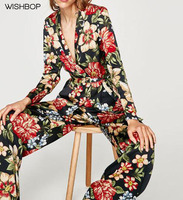 WISHBOP 2017 New Woman Floral Printing Blazer Lapel Collar Waist With Belt Long Sleeves Cuff With