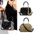 Fashion Women Leopard Sequin PU Leather Messenger Cross Shoulder Bag Handbag  BS88