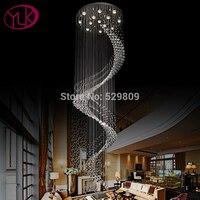 Luxury Spiral Design Modern Crystal Chandelier Large Lustres De Cristal Dia80 H300cm Long Stair Lighting Fixture
