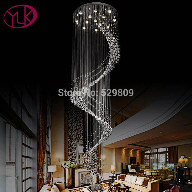 Youlaike Modern Staircase Chandelier Lighting Spiral Crystal Light Fixture Luxury Home Decoration LED Hanging Cristal Lustres