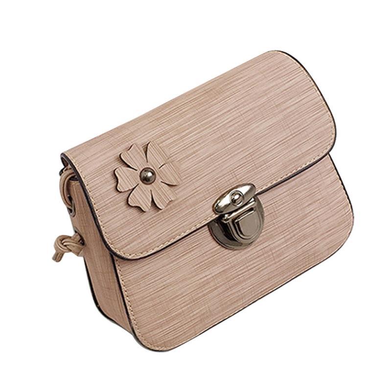 Модные женские кожаные Ретро Цветы Декоративные сумка через плечо сумка женская сплошной цвет пряжки небольшой площади сумка # F