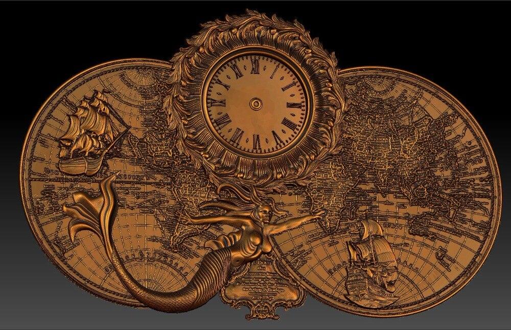 Digital File In STL Format Clock For CNC 3D Relief Carving Engraving C36-18