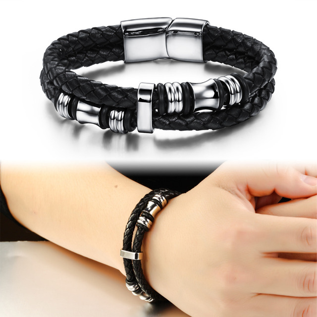 Fashion Black Double Layer Braided Leather Bracelet Men Stainless Steel Silver Bracelets Bangles with Magnetic Buckle FL911