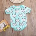 2016 Newborn Baby Girls Boys Clothes Summer Short Sleeve Fox Bodysuit 3-18M Infant Boy Baby Body Oneseis