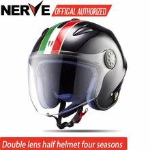 Нерв мотоциклетный шлем с открытым лицом, шлем из стекловолокна ретро реактивный винтажный шлем, объектив dula, ECE approvaled