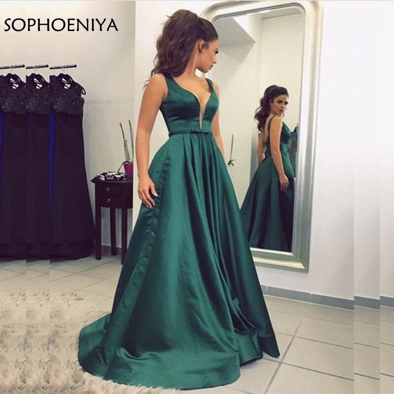 New Arrival Satin Green   evening     dress   2019 Abiye Arabic Formal   dress   Party Robe de soiree abiye abendkleider Party long   dress