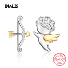 INALIS New Delicate Stud Earrings 925 Sterling Silver CZ Crystal Cupid's Arrow Shape Asymmetry Brincos for Women Love Gift delicate arrow shape triangle hairpin for women
