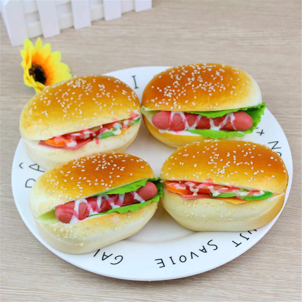 Bonita simulación hamburguesa Squishy juguetes de crecimiento lento crema perfumada descompresión decoración de juguetes toallitas anti-stress chancery A1
