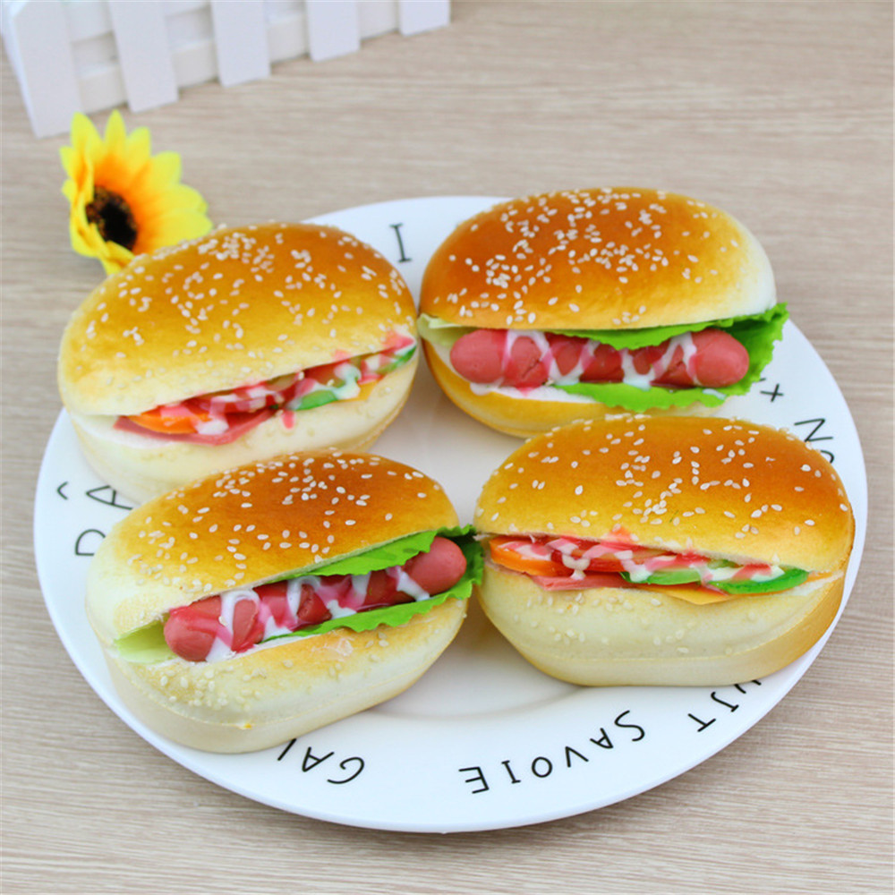 Cute Simulation Hamburger Squishy Slow Rising Toys Cream Scented Decompression Toys Decoration Wipes Anti-stress Chancery A1