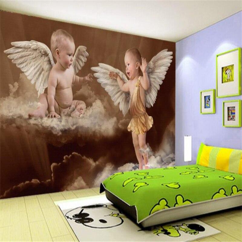 Beibehang Large Custom Wallpaper Wall Murals Angel Baby Children Bedroom Background Wall Papel De Parede 3d